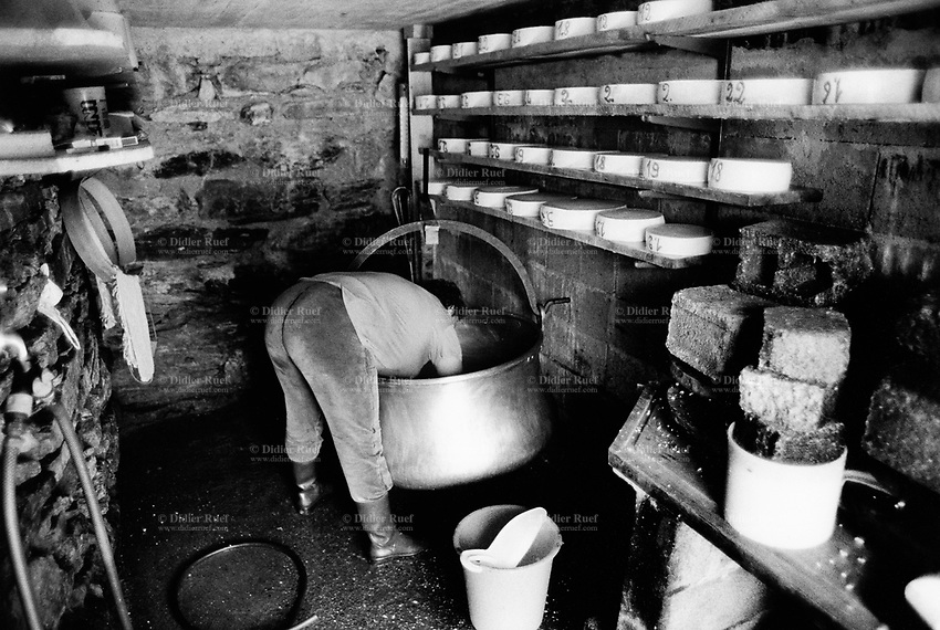 Switzerland. Canton Valais. Hèrens valley. Arbey. Cheese making and production. Copper cauldron. Plastic buckets. Manual labor. Labour force. Woman's bottom. Swiss alpine farmers. Alps mountains peasants.  © 1994 Didier Ruef