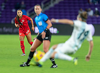 ORLANDO, FL - FEBRUARY 21: Jordyn Listro #21 of Canada watches the ball during a game between Canada and Argentina at Exploria Stadium on February 21, 2021 in Orlando, Florida.