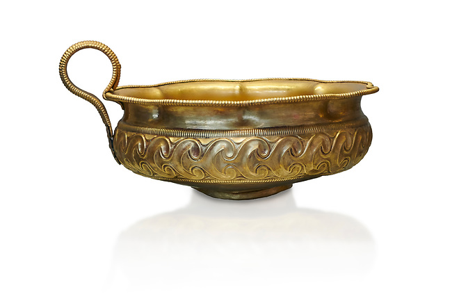 Mycenaean gold cup with ivy leaf decoration from the Mycenaean cemetery of Midea tomb 10, Dendra, Greece. National Archaeological Museum Athens Cat no 8743.  White Background.