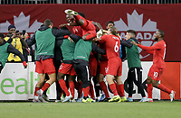 TORONTO, ON - OCTOBER 15: Kamal Miller #17 of Canada celebrates a Canadian goal during a game between Canada and USMNT at BMO Field on October 15, 2019 in Toronto, Canada.
