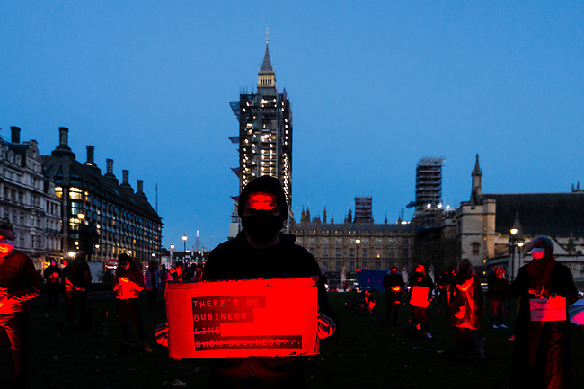 A socially distanced line of #WeMakeEvents supporters and technical crew congregate in the Parliament Square to take their bow following the week's creative activations on October 31, 2020 in London, United Kingdom. The aim is to showcase the breadth of live events and the technical supply chain that support them, and that live events need government policies in place to help people to return to work and further financial aid until everyone can return. The protest has been organised by We Stand As One #WeMakeEvents who are calling for meaningful support from the Government until the industry is allowed to operate for an industry that provides over 600,000 jobs in UK. Photo: AMMP/Maciek Musialek