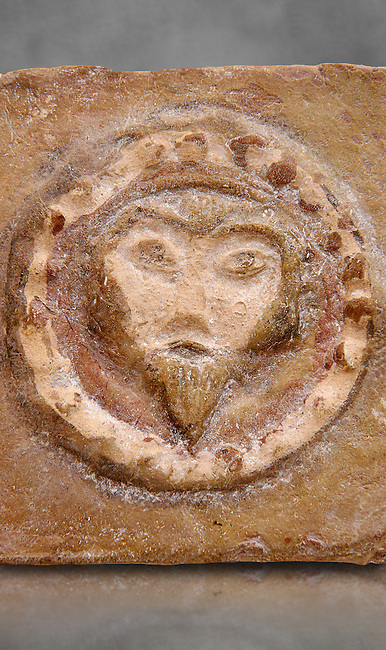 Detail of a 6th-7th Century Eastern Roman Byzantine  Christian Terracotta tiles depicting Christ - Produced in Byzacena -  present day Tunisia. <br />