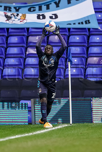20th February 2021; St Andrews Stadium, Coventry, West Midlands, England; English Football League Championship Football, Coventry City v Brentford; Julien Dacosta of Coventry City takes a throw in