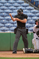 Umpire Casey James calls a strike during a game between the Bradenton Marauders and Dunedin Blue Jays on May 13, 2021 at BayCare Ballpark in Clearwater, Florida.  (Mike Janes/Four Seam Images)