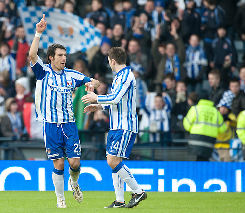 GLASGOW, SCOTLAND - JANUARY 28:  Kilmarnock's Manuel Pascali and Pul Heffernan celebrate getting to the final at the end of the Scottish Communities Cup Semi Final match between Ayr United and Kilmarnock at Hampden Park on January 28, 2012 in Glasgow, United Kingdom. (Photo by Rob Casey/Getty Images).