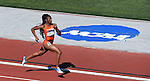 13 JUNE 2015: Kyra Jefferson of Florida runs the second leg as Florida won the NCAA Championship in the Women's 4X400 meter relay during the Division I Men's and Women's Outdoor Track & Field Championship held at Hayward Field in Eugene, OR.  Florida won the event in a time of 3:28.12. Steve Dykes/ NCAA Photos