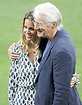 American actor Richard Gere and his girlfriend Alejandra Silva with Real Madrid's players during Champions League 2015/2016 training session. May 27,2016. (ALTERPHOTOS/Acero)