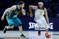 July 14, 2016: JORDAN MCLAUGHLIN (3) of the USC Trojans dribbles the ball during game 2 of the Australian Boomers Farewell Series between the Australian Boomers and the American PAC-12 All-Stars at Hisense Arena in Melbourne, Australia. Sydney Low/AsteriskImages.com