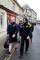 Photo: Richard Lane/Richard Lane Photography. Bath Rugby v Wasps. Aviva Premiership. 04/02/2017. Wasps' Lee Blackett and Danny Cipriani walk to the ground.