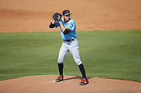 Hickory Crawdads starting pitcher Tai Tiedemann (23) looks to his catcher for the sign against the Kannapolis Intimidators at Kannapolis Intimidators Stadium on June 2, 2019 in Kannapolis, North Carolina. The Intimidators defeated the Crawdads 4-3. (Brian Westerholt/Four Seam Images)