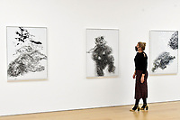 London, UK - 14 October 2020<br /> (L-R) Lion in enclosure, 2019, Young dancing bear, 2019 and Baby elephant abandoned, 2019 at Maggi Hambling's new exhibition at Marlborough Gallery, where she has a solo exhibition to coinciding with her 75th birthday, featuring recent paintings responding to the seismic events of the present, works include a new series of self-portraits created in lockdown, a series depicting wild animals facing threat and intimate portraits of people laughing.<br /> CAP/JOR<br /> ©JOR/Capital Pictures