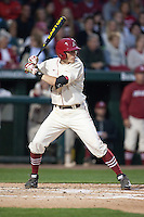 Arkansas Razorbacks infielder Bobby Wernes (7) batting at Baum Stadium during the NCAA baseball game against the Alabama Crimson Tide on March 21, 2014 in Fayetteville, Arkansas.  The Alabama Crimson Tide defeated the Arkansas Razorbacks 17-9.  (William Purnell/Four Seam Images)