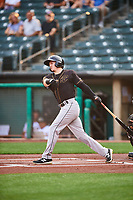 Bryce Johnson (48) of the Sacramento River Cats at bat against the Salt Lake Bees at Smith's Ballpark on August 16, 2021 in Salt Lake City, Utah. The Bees defeated the River Cats 6-0. (Stephen Smith/Four Seam Images)