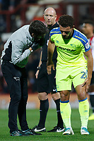 Mason Bennett of Derby County picks up an injury during the Sky Bet Championship match between Brentford and Derby County at Griffin Park, London, England on 26 September 2017. Photo by Carlton Myrie / PRiME Media Images.