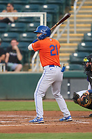 St. Lucie Mets Jimmy Titus (21) bats during a game against the Fort Myers Mighty Mussels on June 3, 2021 at Hammond Stadium in Fort Myers, Florida.  (Mike Janes/Four Seam Images)