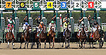 St. John's River, Jose Lezcano up, wins the Grade II Delaware Oaks at Delaware Park. Start of the race; from left: St. John's River, Soundwave, Snow Fall, All for Thee, Dance Quietly, Daring Reality, Strike the Moon. Winning trainer is Andrew Leggio, Jr.; winning owner is Dede McGehee. Stanton, DE, July 9, 2011. (Joan Fairman Kanes/Eclipsesportswire)