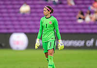 ORLANDO, FL - FEBRUARY 24: Stephanie Labbe #1 of Canada walks off the field during a game between Brazil and Canada at Exploria Stadium on February 24, 2021 in Orlando, Florida.
