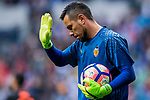 Goalkeeper Diego Alves Carreira of Valencia CF reacts during their La Liga match between Real Madrid and Valencia CF at the Santiago Bernabeu Stadium on 29 April 2017 in Madrid, Spain. Photo by Diego Gonzalez Souto / Power Sport Images