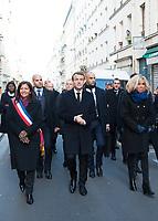 November 13 2017, PARIS FRANCE<br /> the President of France Emmanuel Macron<br /> honors the victims of the 13 november 2015<br /> in the scenes of attacks. the President, his<br /> wife Brigitte Macron antd Anne Hidalgo the<br /> Mayor of Paris move towards the Restaurant la Bonne Bière. # HOMMAGE AUX VICTIMES DES ATTENTATS DU 13 NOVEMBRE 2015