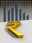 Indian currency symbol with bar graph
