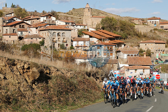 Movistar Team led by Jorge Arcas (ESP) set the pace on the front of the peloton during Stage 8 of the Vuelta Espana 2020 running 160km from Logroño to Alto de Moncalvillo, Spain. 28th October 2020.   <br /> Picture: Luis Angel Gomez/PhotoSportGomez   Cyclefile<br /> <br /> All photos usage must carry mandatory copyright credit (© Cyclefile   Luis Angel Gomez/PhotoSportGomez)