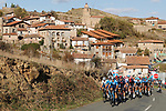 Movistar Team led by Jorge Arcas (ESP) set the pace on the front of the peloton during Stage 8 of the Vuelta Espana 2020 running 160km from Logroño to Alto de Moncalvillo, Spain. 28th October 2020.   <br /> Picture: Luis Angel Gomez/PhotoSportGomez | Cyclefile<br /> <br /> All photos usage must carry mandatory copyright credit (© Cyclefile | Luis Angel Gomez/PhotoSportGomez)