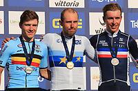 12th September 2021: Trento, Trentino–Alto Adige, Italy: UEC Road European Mens Elite Cycling Championships; Remco EVENEPOEL (BEL), Sonny COLBRELLI (ITA) and Benoit Cosnefroy (FRA)