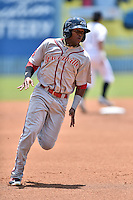Greenville Drive center fielder Luis Alexander Basabe (19) runs to third base during a game against the Asheville Tourists at McCormick Field on July 24, 2016 in Asheville, North Carolina. The Drive defeated the Tourists 12-5. (Tony Farlow/Four Seam Images)