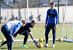 St Johnstone Training…….03.03.20<br />Jason Kerr pictured with Zander Clark during training this morning at McDiarmid Park ahead of tomorrow night's game at St Mirren.<br />Picture by Graeme Hart.<br />Copyright Perthshire Picture Agency<br />Tel: 01738 623350  Mobile: 07990 594431