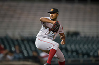 Mesa Solar Sox relief pitcher Darwinzon Hernandez (30), of the Boston Red Sox organization, delivers a pitch during an Arizona Fall League game against the Scottsdale Scorpions on October 9, 2018 at Scottsdale Stadium in Scottsdale, Arizona. The Solar Sox defeated the Scorpions 4-3. (Zachary Lucy/Four Seam Images)