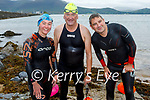Just out of the water after their swim from Derrymore to Fenit on Saturday morning. L to r: Sinead Ryle (Tralee), Joe Durlin and Kieran Dwyer (Churchill).