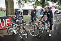 chatting before the start: Gianni Meersman (BEL/OmegaPharma-Quickstep), Bart De Clercq (BEL/Lotto-Belisol) & Thomas De Gendt (BEL/OmegaPharma-Quickstep)<br /> <br /> Belgian Championships 2014 - Wielsbeke<br /> Elite Men
