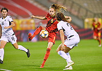 Tessa Wullaert (9) of Belgium pictured during a female soccer game between the national teams of Belgium , called the Red Flames and Albania in the second game in the qualification for the  FIFA Women's World Cup in group F , on tuesday 21 st of September 2021  in Brussels , Belgium . PHOTO SPORTPIX