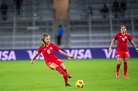 ORLANDO, FL - FEBRUARY 21: Samantha Chang #8 of the CANWNT kicks the ball during a game between Argentina and Canada at Exploria Stadium on February 21, 2021 in Orlando, Florida.