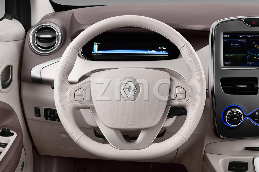 Car pictures of steering wheel view of a 2017 Renault ZOE Bose Edition 5 Door Hatchback