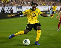 NASHVILLE, TN - JULY 4: Darren Mattocks #10 during a game between Jamaica and USMNT at Nissan Stadium on July 4, 2019 in Nashville, Tennessee.