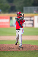 Orem Owlz relief pitcher Adalberto Pena (29) delivers a pitch during a Pioneer League game against the Missoula Osprey at Ogren Park Allegiance Field on August 19, 2018 in Missoula, Montana. The Missoula Osprey defeated the Orem Owlz by a score of 8-0. (Zachary Lucy/Four Seam Images)