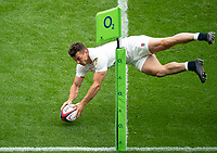 Adam Radwan (Newcastle Falcons) of England scores his 2nd try in the corner during the Autumn International match between England and Canada at Twickenham Stadium, London, England on 10 July 2021. Photo by Liam McAvoy.