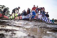 Gianni Vermeersch (BEL/Sunweb-Napoleon Games) leads ahead of Sven Nys (BEL/Crelan-AAdrinks) into the muddy descent <br /> <br /> UCI Cyclocross World Cup Heusden-Zolder 2015