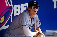 Omaha Storm Chasers outfielder Wil Myers #8 sits in the dugout before the Pacific Coast League baseball game against the Round Rock Express on July 22, 2012 at the Dell Diamond in Round Rock, Texas. The Express defeated the Chasers 8-7 in 11 innings. (Andrew Woolley/Four Seam Images).