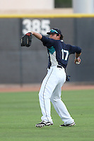 Alex Jackson #17 of the AZL Mariners during a game against the AZL Giants at Peoria Sports Complex on July 10, 2014 in Peoria, Arizona. (Larry Goren/Four Seam Images)