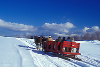 open sleigh ride, Stowe, Vermont, VT, A team of horses pulls a red sleigh through the snow covered field at Trapp Family Lodge in Stowe.