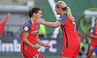 Portland, OR - Wednesday June 28, 2017: Christine Sinclair, Lindsey Horan celebrate a goal during a regular season National Women's Soccer League (NWSL) match between the Portland Thorns FC and FC Kansas City at Providence Park.