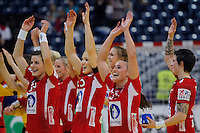 BELGRADE, SERBIA - DECEMBER 15: Handball team of Norway celebrates victory against Hungary after the Women's European Handball Championship 2012 semifinal match between Norway and Hungary at Arena Hall on December 15, 2012 in Belgrade, Serbia. (Photo by Srdjan Stevanovic/Getty Images)