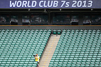 A solo photographer looks on during the World Club 7s at Twickenham on Sunday 18th August 2013 (Photo by Rob Munro)