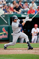 San Antonio Missions center fielder Alberth Martinez (21) follows through on a swing during a game against the Springfield Cardinals on June 4, 2017 at Hammons Field in Springfield, Missouri.  San Antonio defeated Springfield 6-1.  (Mike Janes/Four Seam Images)