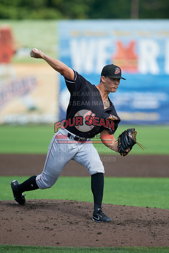 Batavia Muckdogs pitcher Evan Brabrand (41) during a NY-Penn League game against the Auburn Doubledays on September 2, 2019 at Falcon Park in Auburn, New York.  Batavia defeated Auburn 7-0 to clinch the Pinckney Division Title.  (Mike Janes/Four Seam Images)