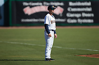 Charleston RiverDogs manager Blake Butera (3) coaches third base during the game against the Augusta GreenJackets at Joseph P. Riley, Jr. Park on June 27, 2021 in Charleston, South Carolina. (Brian Westerholt/Four Seam Images)