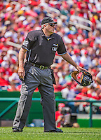 14 April 2013: MLB Home Plate Umpire Bill Welke officiates a game between the Atlanta Braves and the Washington Nationals at Nationals Park in Washington, DC. The Braves shut out the Nationals 9-0 to sweep their 3-game series. Mandatory Credit: Ed Wolfstein Photo *** RAW (NEF) Image File Available ***