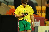 17th April 2021; Carrow Road, Norwich, Norfolk, England, English Football League Championship Football, Norwich versus Bournemouth; Max Aaron of Norwich City wears a t-shirt celebrating winning promotion to the Premier League